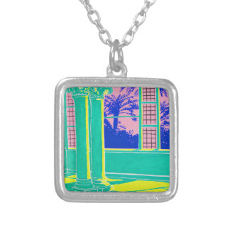 Sundown in the Long and Empty Hallway Silver Plated Necklace