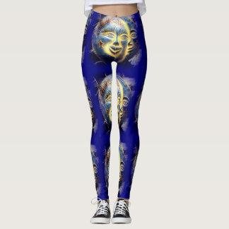 sunface moon face dark blue leggings
