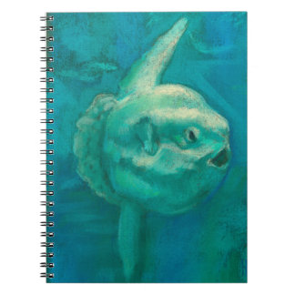 """""""Sunfish"""" underwater pastel painting, teal shades Spiral Note Books"""