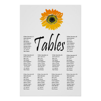 Sunflower 10 Table Seating Chart Poster