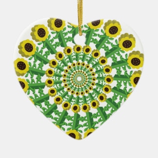 Sunflower 3D Circular Pattern Ceramic Ornament