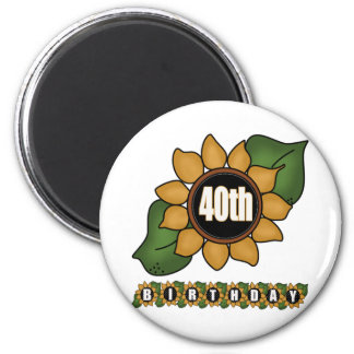 Sunflower 40th Birthday Gifts Magnet