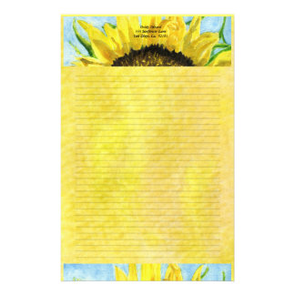 Sunflower 4 Watercolor Personalized Stationary Stationery