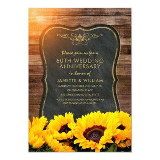Sunflower 60th Wedding Anniversary Rustic Fall Card