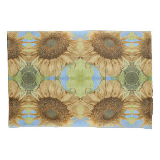 Sunflower against blue sky abstract pattern pillowcase
