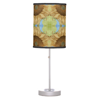 Sunflower against blue sky abstract pattern table lamp