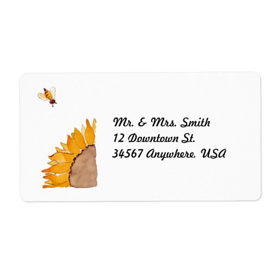Sunflower and Bee Shipping Label