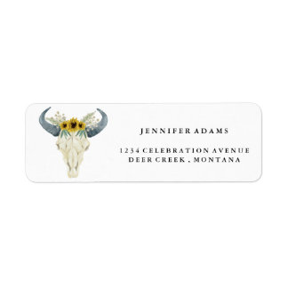 Sunflower and Bull Skull Return Address Labels