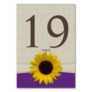 Sunflower and Burlap Purple Table Number Card