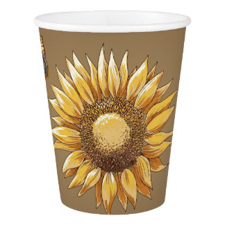 Sunflower and Butterflies Floral Vintage Elegant Paper Cup