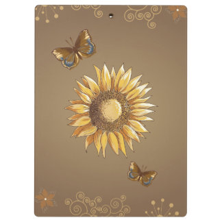 Sunflower and Butterflies Vintage Elegant Clipboard