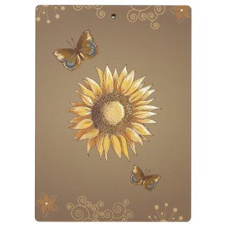 Sunflower and Butterflies Vintage Elegant Clipboards