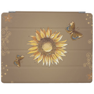 Sunflower and Butterflies Vintage Elegant iPad Cover