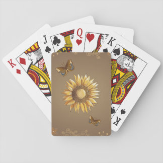 Sunflower and Butterflies Vintage Elegant Playing Cards