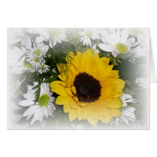 sunflower and daisies card