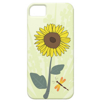 Sunflower and dragonfly with floral impressions iPhone 5 case