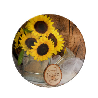 Sunflower and Garden Watering Can Wedding Keepsake Plate