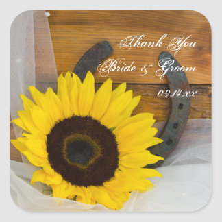 Sunflower and Horseshoe Country Wedding Thank You Sticker
