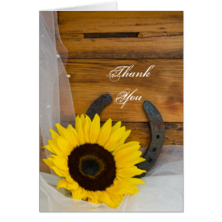 Sunflower and Horseshoe Country Western Thank You Card
