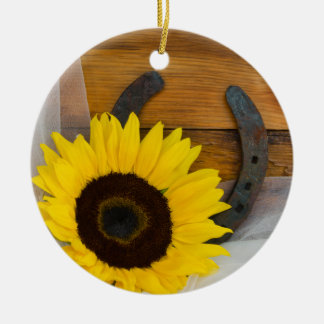 Sunflower and Horseshoe Country Western Wedding Ceramic Ornament