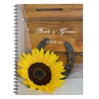 Sunflower and Horseshoe Country Western Wedding Spiral Notebook