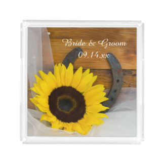 Sunflower and Horseshoe Western Wedding Perfume Tray