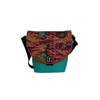 Sunflower and leaf camouflage pattern on messenger bags