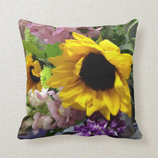 Sunflower and mixed vibrant flowers throw pillow