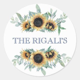 Sunflower and Navy Blue Floral Botanical Wedding Round Sticker