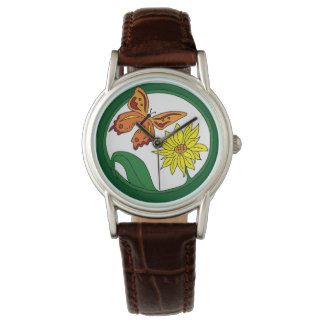 Sunflower and Orange butterfly Watch