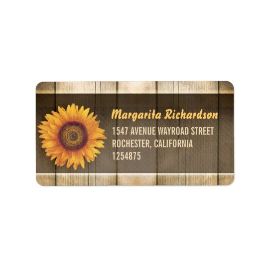 sunflower and rustic wood address labels