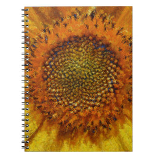 Sunflower and Seeds In Van Gogh Style Notebook