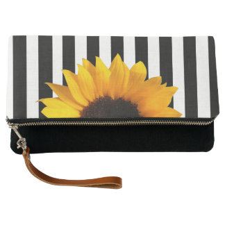 Sunflower and Stripes Fold Over Clutch