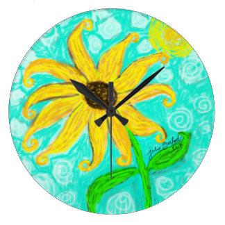 Sunflower and Sun Wall Clock by Julie Everhart