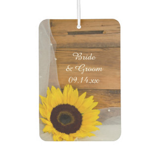 Sunflower and Veil Country Wedding Car Air Freshener
