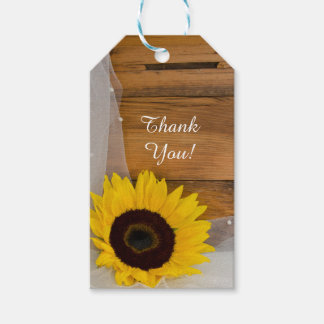 Sunflower and Veil Country Wedding Favor Tags Pack Of Gift Tags