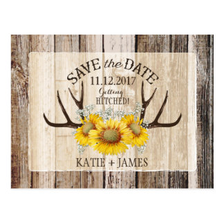 Sunflower Antlers Wood Rustic Save the Date Postcard