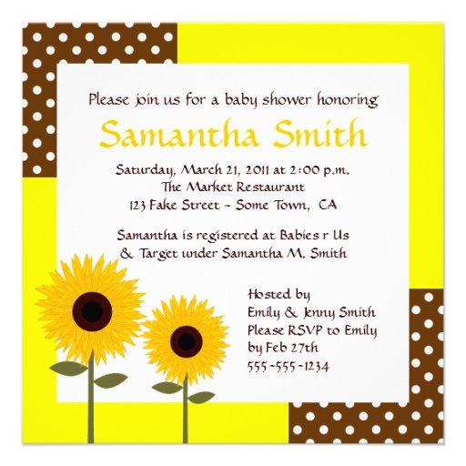 sunflower baby shower invitation yellow brown zazzle