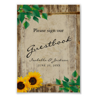 Sunflower Barn Wood Guestbook Sign