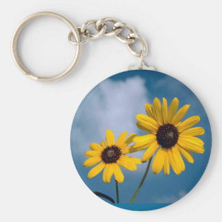 Sunflower Basic Round Button Keychain