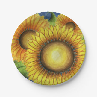 Sunflower Birthday Wedding Party Paper Plates