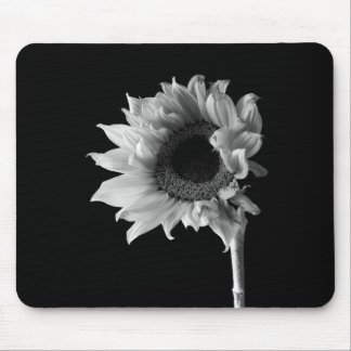 Sunflower - Black and White Photograph Mouse Pad