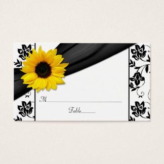 Sunflower Black Damask Floral Wedding Place Cards