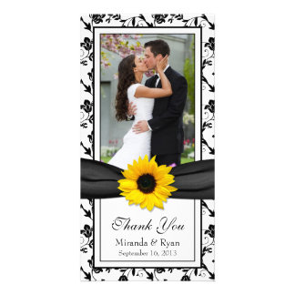 Sunflower Black Floral Ribbon Wedding Thank You Photo Card
