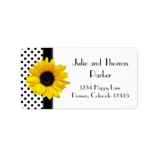 Sunflower Black White Polka Dot Wedding Address