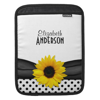 Sunflower Black White Polka Dots iPad Sleeve