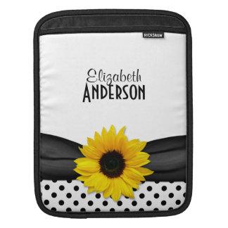 Sunflower Black White Polka Dots Sleeve For iPads