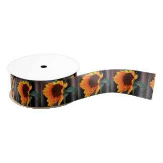 Sunflower bloom grosgrain ribbon