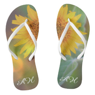 Sunflower bloom Monogrammed Flip flop sandals