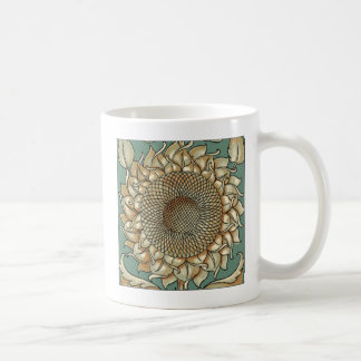 Sunflower Bloom on Blue-green Background Coffee Mug